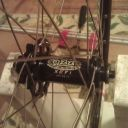 Front wheel laced ready for tensioning.